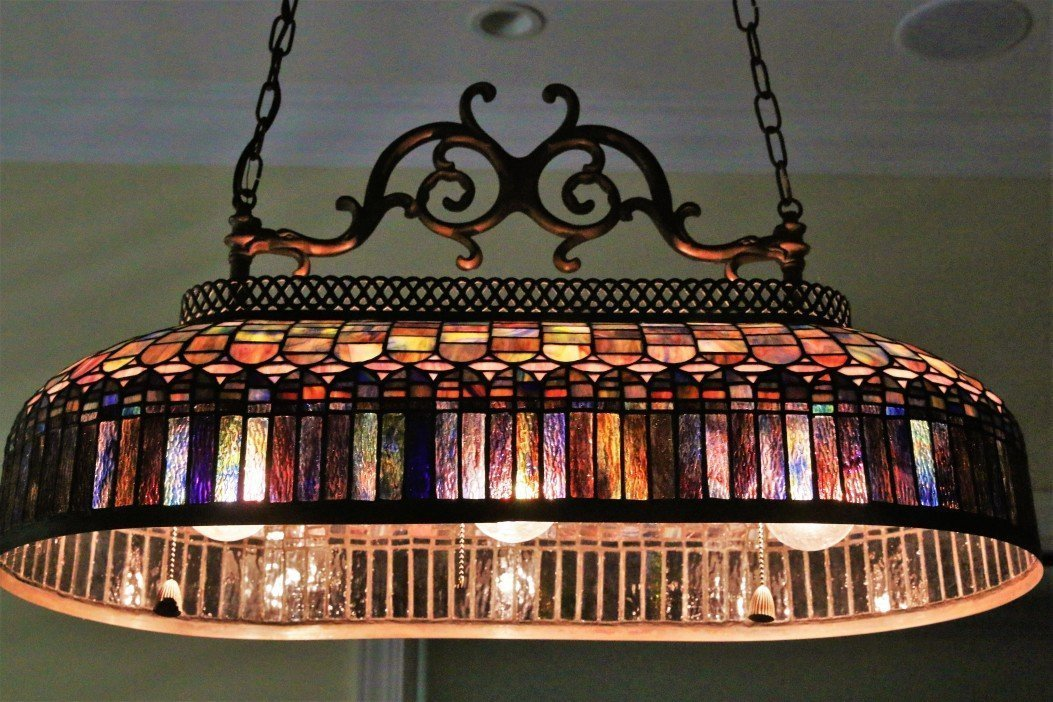 Single Shade Stained Glass Pool Table Light