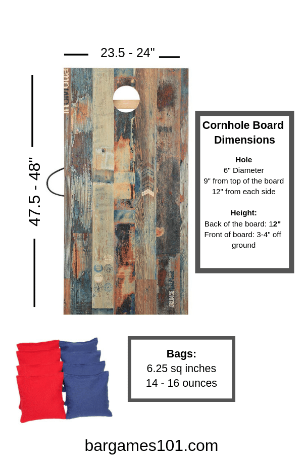 Cornhole Board and Bag Dimensions