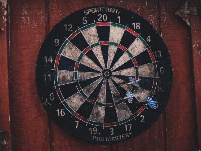 Old Dartboard on Barn Door