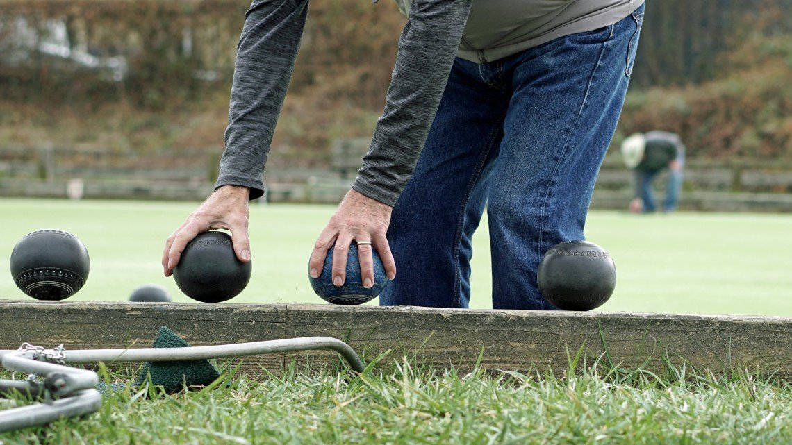 Lawn bowls ready for play